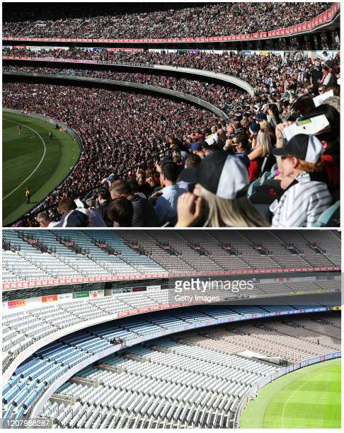 General view of empty stands at trhe MCG during the round 1 AFL match between the Hawthorn Hawks and the Brisbane Lions at Melbourne Cricket Ground...
