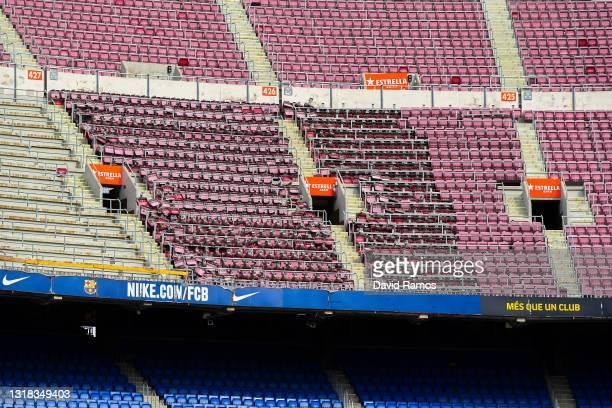 General view of empty stands during the La Liga Santander match between FC Barcelona and RC Celta at Camp Nou on May 16, 2021 in Barcelona, Spain....