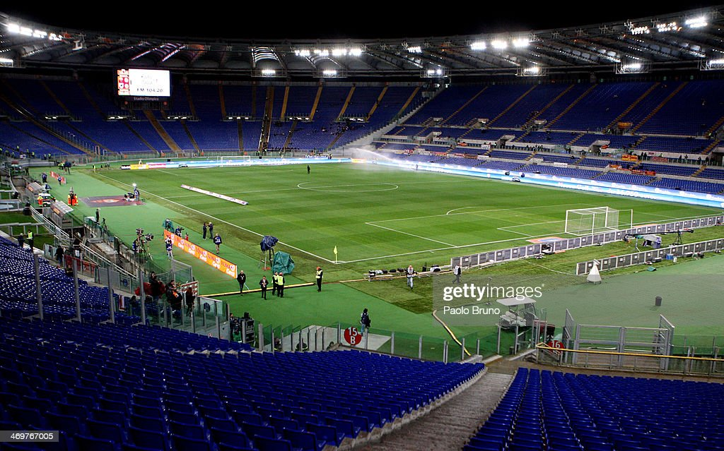 A general view of empty stands empty during the the Serie A match between AS Roma and UC Sampdoria at Stadio Olimpico on February 16, 2014 in Rome, Italy. The Curva Nord and Curva Sud sections of the Stadio Olimpico were temporarily closed, following their Tim Cup fixture, after fans aimed 'territorially discriminatory' chants towards Napoli supporters.