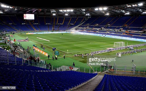 General view of empty stands empty during the the Serie A match between AS Roma and UC Sampdoria at Stadio Olimpico on February 16, 2014 in Rome,...