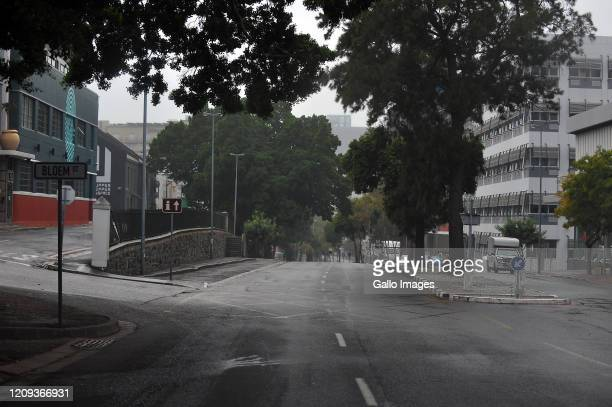 A general view of empty street on Day Twelve of National Lockdown on April 07 2020 in Cape Town South Africa According to media reports President...