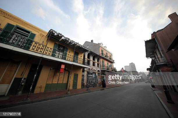 General view of empty streets in the French Quarter on April 09, 2020 in New Orleans, Louisiana. Louisiana has reported 18,283 coronavirus cases with...