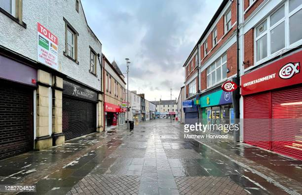 General view of empty streets in the town centre on October 28, 2020 in Bridgend, Wales. Wales entered a national lockdown on Friday evening which...