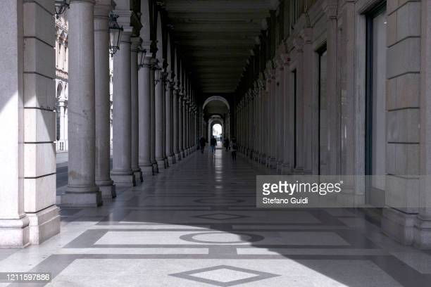 General view of empty Via Roma in Turin as Italy clamps down on public events and travel to halt the spread of the coronavirus on March 10 2020 in...