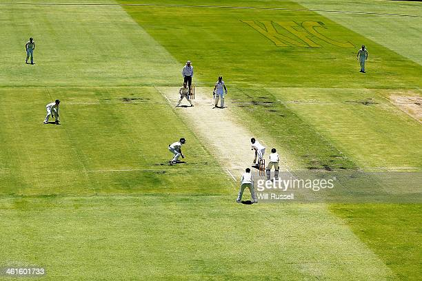 A general view of England batting during Day One of the Women's Ashes Test match between Australia and England at the WACA on January 10 2014 in...