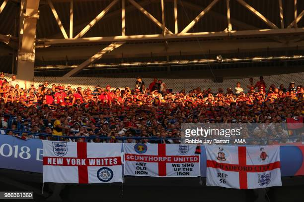 General View of England fans and flags during the 2018 FIFA World Cup Russia group G match between England and Belgium at Kaliningrad Stadium on June...