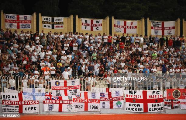 A general view of England fans as they watch the action during the FIFA 2018 World Cup Qualifier between Malta and England at Ta'Qali National...