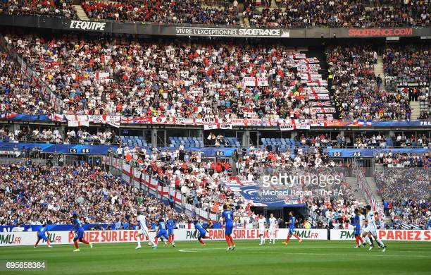 General view of England fans as they watch the action during the International Friendly match between France and England at Stade de France on June...