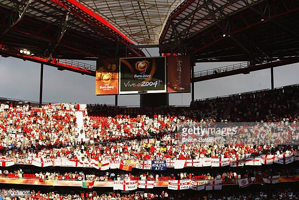 General view of England fans during the UEFA Euro 2004 Quarter Final match between Portugal and England at the Luz Stadium on June 24 2004 in Lisbon...