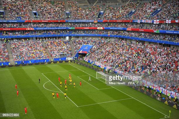 General view of England fans in Samara Arena during the 2018 FIFA World Cup Russia Quarter Final match between Sweden and England at Samara Arena on...