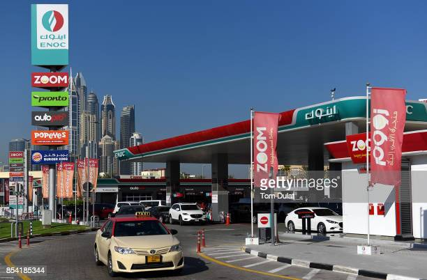 General view of Enoc petrol station on September 25 2017 in Dubai United Arab Emirates