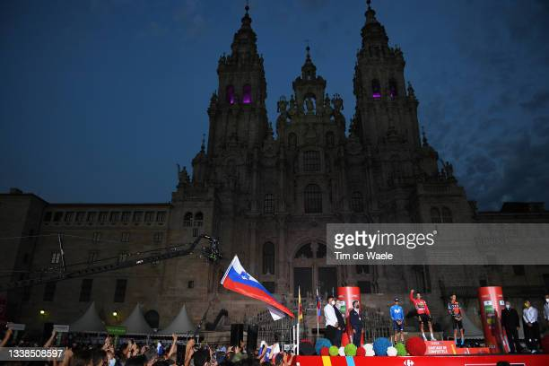 General view of Enric Mas Nicolau of Spain and Movistar Team, Primoz Roglic of Slovenia and Team Jumbo - Visma red leader jersey and Jack Haig of...