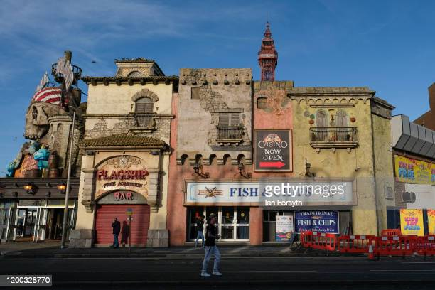 General view of entertainment buildings on Blackpool seafront on January 18 2020 in Blackpool England Warmer weather has taken over following the...