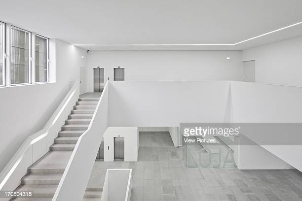 General view of entrance area and stairs from first floor Platform for Arts and Creativity Cultural Centre Europe Portugal PitAígoras Arquitectos
