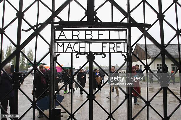 A general view of entrance gate of the Dachau concentration camp during a ceremony to commemorate the 70th anniversary of the liberation at the...