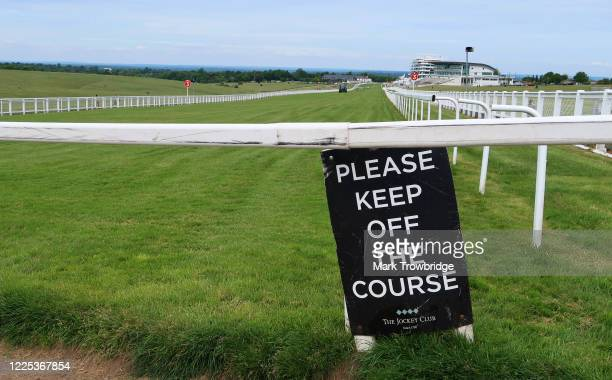General view of Epsom Downs Racecourse on May 17, 2020 in Epsom, England. All horse racing in UK is suspended due to the coronavirus pandemic.