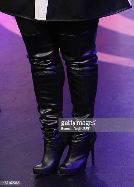 A general view of Erica Campbell's boots during 106 Park at BET studio on February 24 2014 in New York City