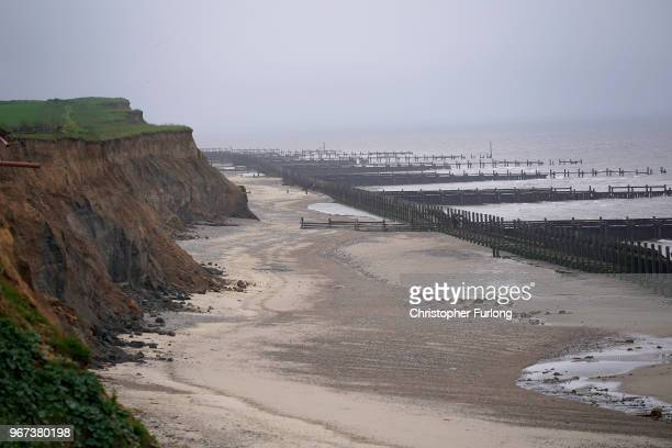 A general view of erosion to the cliff face in the village of Happisburgh on June 4 2018 in Great Yarmouth England The sea defences which were built...