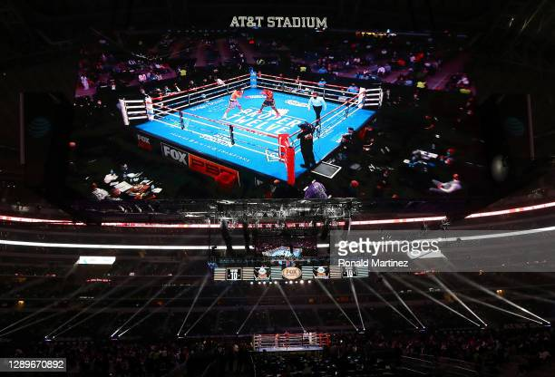 General view of Errol Spence Jr. And Danny Garcia during their WBC & IBF World Welterweight Championship fight at AT&T Stadium on December 05, 2020...