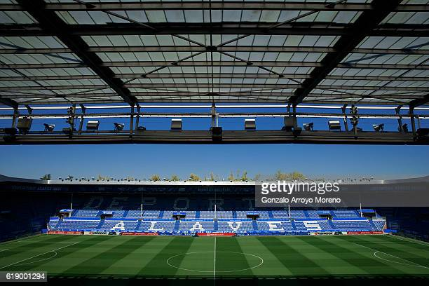 General view of Estadio de Mendizorroza pitch before the La Liga match between Deportivo Alaves and Real Madrid CF on October 29 2016 in...