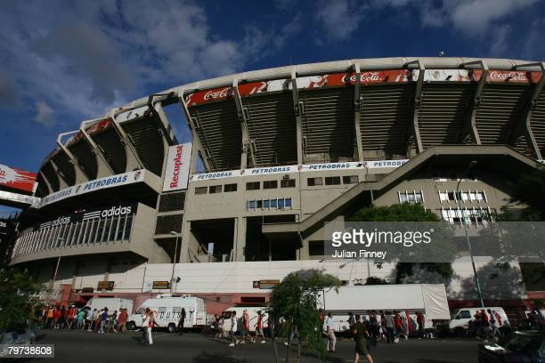 General view of Estadio Monumental, home to River Plate football club, before the Primera Division closing season match between River Plate and...