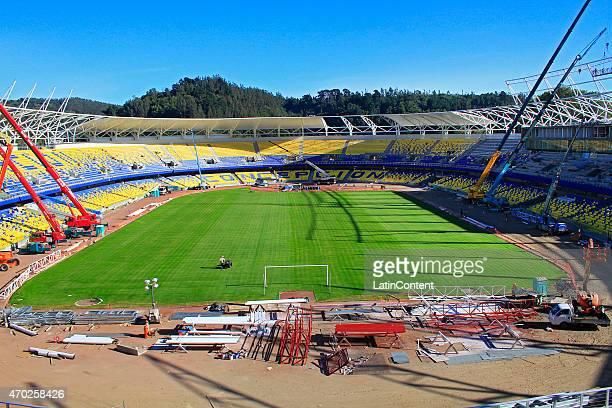 General view of Estadio Municipal de Concepción Alcaldesa Ester Roa Rebolledo during restoration prior to Copa America Chile 2015 at Concepcion Chile...