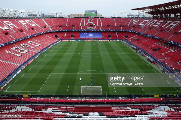 General view of Estadio Ramon Sanchez Pizjuan before the UEFA Champions League Quarter Final Second Leg match between Chelsea FC and FC Porto on...