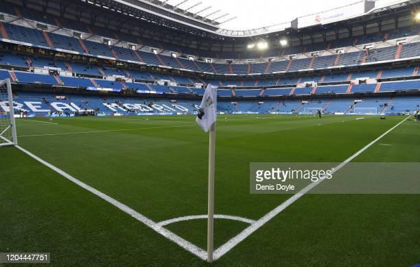 General view of Estadio Santiago Bernabeu ahead of the Copa del Rey Quarter Final between Real Madrid and Real Sociedad at Estadio Santiago Bernabeu...