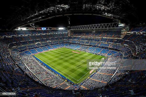 General view of Estadio Santiago Bernabeu pitch before the La Liga match between Real Madrid CF and Real Betis Balompie on August 29 2015 in Madrid...