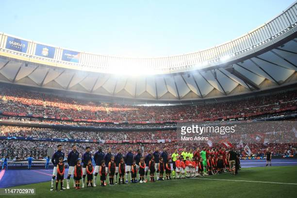 A general view of Estadio Wanda Metropolitano as the teams mascots and match officials line up prior to the UEFA Champions League Final between...