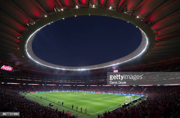 A general view of Estadio Wanda Metropolitano during the La Liga match between Atletico Madrid and Villarreal on October 28 2017 in Madrid Spain