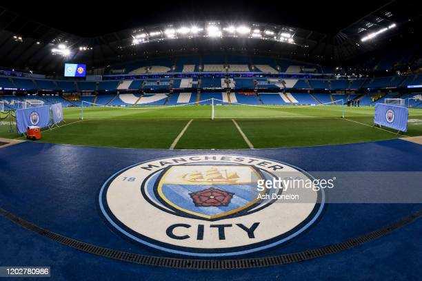 General view of Etihad Stadium ahead of the Carabao Cup Semi Final match between Manchester City and Manchester United at Etihad Stadium on January...