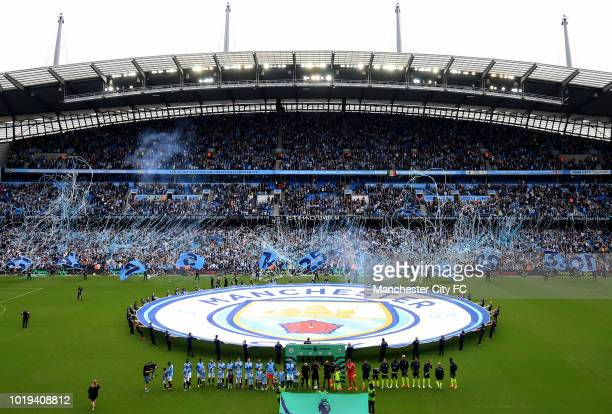 A general view of Etihad Stadium as the teams come out during the Premier League match between Manchester City and Huddersfield Town at Etihad...
