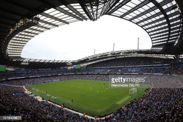 A general view of Etihad Stadium during the Premier League match between Manchester City and Huddersfield Town at Etihad Stadium on August 19 2018 in...