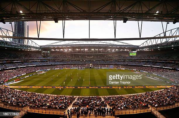 A general view of Etihad Stadium during the round four ALeague match between Melbourne Victory and Wellington Phoneix on November 4 2013 in Melbourne...