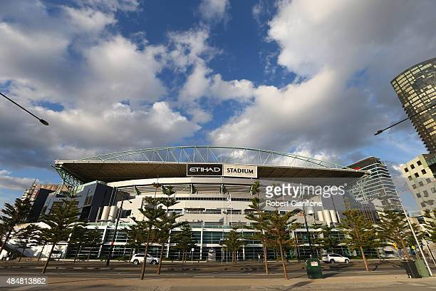 A general view of Etihad Stadium prior to the round 21 AFL match between the St Kilda Saints and the Geelong Cats at Etihad Stadium on August 22 2015...