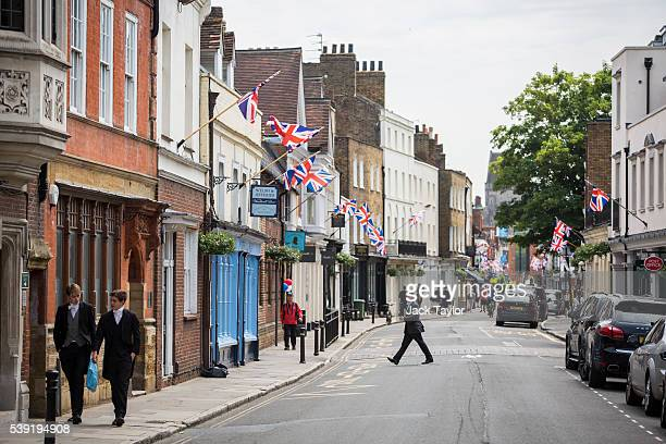 A general view of Eton High Street which will hold a street party to celebrate Queen Elizabeth II's 90th birthday pictured on June 10 2016 in Eton...