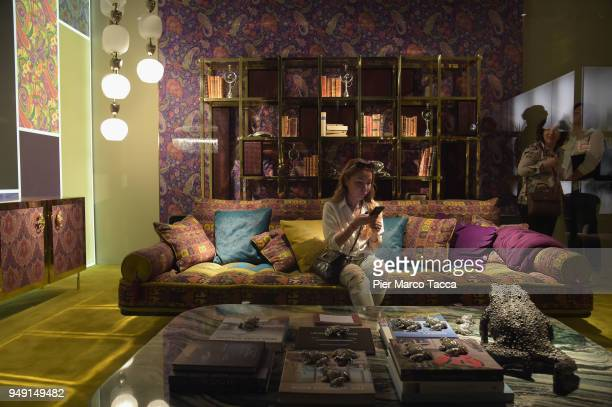 A general view of Etro Home stand at Salone Del Mobile during Milan Design Week at Fiera Milano Rho on April 20 2018 in Milan Italy