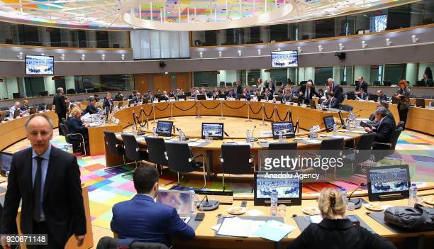 General view of Eurogroup meeting at the EU headquarters in Brussels Belgium on February 19 2018