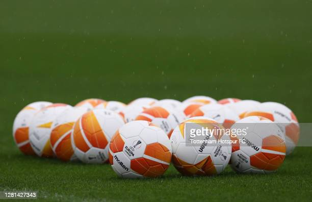 General view of Europa League match balls during the Tottenham Hotspur training session at Tottenham Hotspur Training Centre ahead of the UEFA Europa...