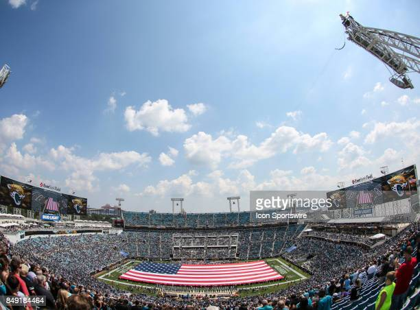 A general view of EverBank Field with a fieldlength American Flag prior to the game between the Tennessee Titans and the Jacksonville Jaguars on...