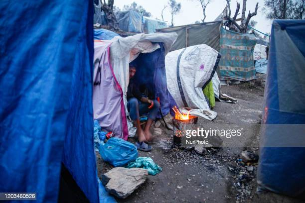 General view of everyday life in Moria Handmade tents on the hills of the slums or quotjunglequot as asylum seekers called it next too the official...