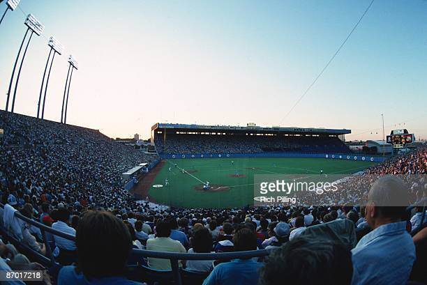 A general view of Exhibition Stadium home of the Toronto Blue Jays in Toronto Canada in August of 1985