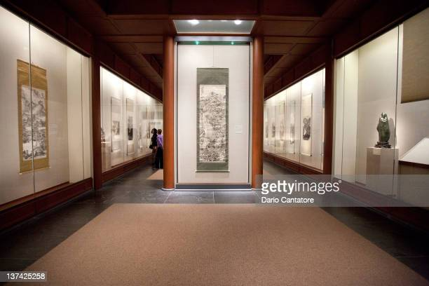 A general view of exhibits on display during the press preview of the 'Chinese Art In An Age Of Revolution' exhibition of paintings and sculptures by...