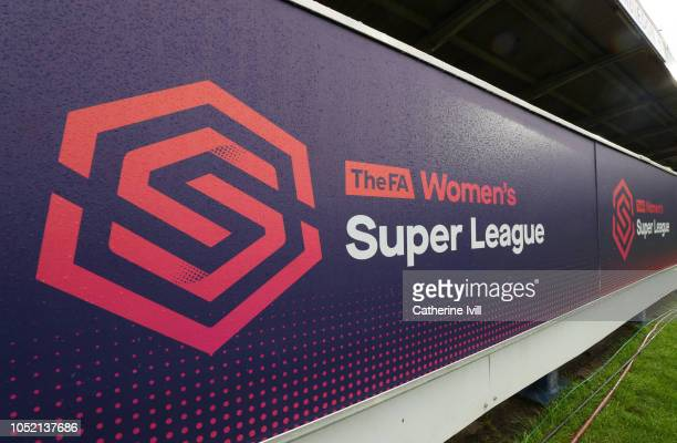 General view of FA WSL branding during the FA WSL match between Chelsea Women and Arsenal at The Cherry Red Records Stadium on October 14 2018 in...