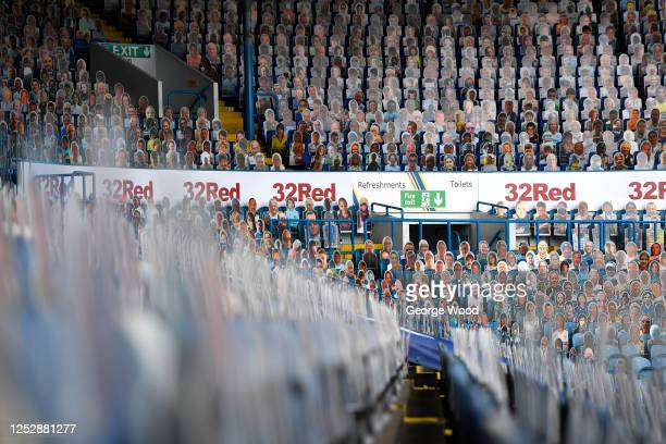 A general view of fan crowdies inside the stadium ahead of the Sky Bet Championship match between Leeds United and Fulham at Elland Road on June 27...