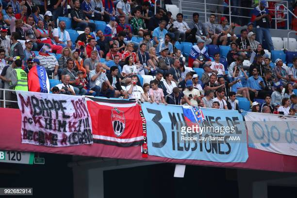 General View of fans and banners prior to the 2018 FIFA World Cup Russia Quarter Final match between Uruguay and France at Nizhny Novgorod Stadium on...