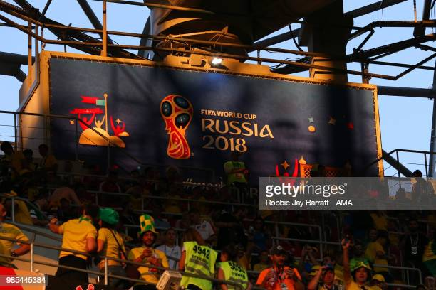 General View of fans and Russia 2018 World Cup signage during the 2018 FIFA World Cup Russia group E match between Serbia and Brazil at Spartak...