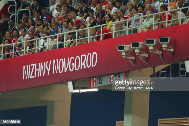 General View of fans and security cameras during the 2018 FIFA World Cup Russia Round of 16 match between Croatia and Denmark at Nizhny Novgorod...