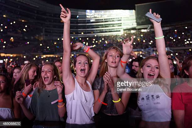 A general view of fans as One Direction performs at Soldier Field on August 23 2015 in Chicago Illinois